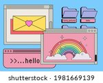 retro style desktop with... | Shutterstock .eps vector #1981669139