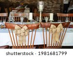 Two Wooden Seats With Bows...