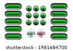 set of green web buttons ...
