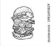 hamburger drawing big and tasty ... | Shutterstock .eps vector #1981693829
