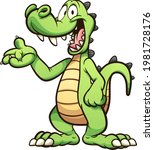 happy green cartoon crocodile...   Shutterstock .eps vector #1981728176