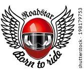 red motorbike helmet and wings | Shutterstock .eps vector #198179753