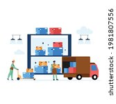 warehouse with storage workers...   Shutterstock .eps vector #1981807556