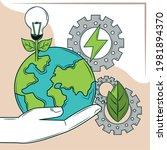 saving green energy world gears ...   Shutterstock .eps vector #1981894370