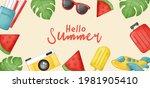 summer banner with summer... | Shutterstock .eps vector #1981905410