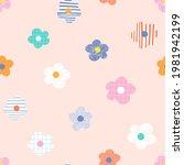 naive childish textured flower... | Shutterstock .eps vector #1981942199