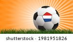 soccer ball on orange... | Shutterstock .eps vector #1981951826