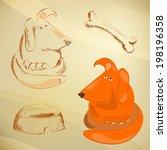 hand drawn set. dog | Shutterstock .eps vector #198196358