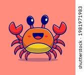 cute crab cartoon vector icon... | Shutterstock .eps vector #1981971983