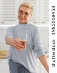 a healthy smiling senior woman...   Shutterstock . vector #1982018453