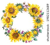 watercolor sunflowers summer...   Shutterstock . vector #1982112689