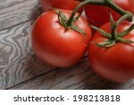 fresh tomatoes on rustic wooden ... | Shutterstock . vector #198213818