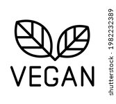 vegan line logo icon isolated...