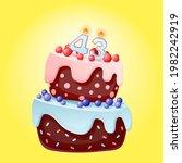 forty three years birthday cake ... | Shutterstock .eps vector #1982242919