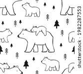 hand drawn mama bear vector... | Shutterstock .eps vector #1982287553