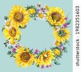 watercolor sunflowers summer...   Shutterstock . vector #1982351603