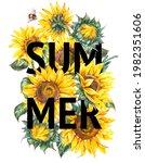 watercolor sunflowers flowers...   Shutterstock . vector #1982351606