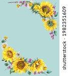 watercolor sunflowers summer...   Shutterstock . vector #1982351609
