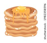 pancake with syrup isolated icon   Shutterstock .eps vector #1982358596