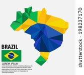 brazil map and flag | Shutterstock .eps vector #198237170