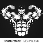 bodybuilder showing muscles ...