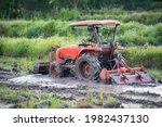 Red Tractor Plowing On Green...