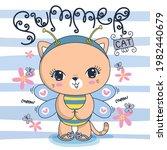 cute little cat in bee costume... | Shutterstock .eps vector #1982440679
