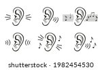 hearing ear icon set. sound... | Shutterstock .eps vector #1982454530
