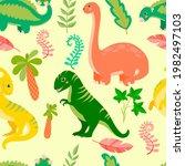pattern of cute dinosaurs....   Shutterstock .eps vector #1982497103
