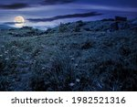 Mountain Meadow At Night. Cloud ...