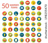50 woman icons set  round flat... | Shutterstock .eps vector #198255470