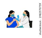 coronavirus vaccine girl...   Shutterstock .eps vector #1982570759
