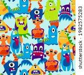 monsters seamless pattern....   Shutterstock .eps vector #1982575283