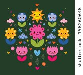 cute cartoon flower characters... | Shutterstock .eps vector #198260648