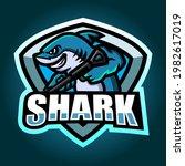 shark mascot esport logo design | Shutterstock .eps vector #1982617019
