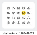 delivery vector line icons.... | Shutterstock .eps vector #1982618879