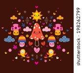 mushrooms  flowers  hearts  ... | Shutterstock .eps vector #198262799
