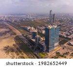 karachi pakistan 2021, cityscape and landmarks of karachi city, aerial picture of bahria icon tower, dolmen mall clifton, harbor front. Sunrise at karachi, sea view, Business hub of Pakistan