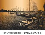 harbor with sailboats and... | Shutterstock .eps vector #1982669756