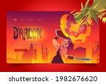 dragon attack knight cartoon... | Shutterstock .eps vector #1982676620