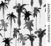 watercolor palm tree seamless... | Shutterstock . vector #1982740949