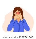 woman suffering from sinus... | Shutterstock .eps vector #1982741840