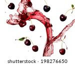 cherry juice  and cherries... | Shutterstock . vector #198276650