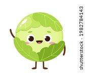 cartoon green cabbage emoji.... | Shutterstock .eps vector #1982784143