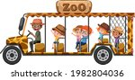 zoo concept with children on... | Shutterstock .eps vector #1982804036