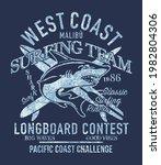 west coast longboard surfing...   Shutterstock .eps vector #1982804306