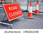 road closed road sign | Shutterstock . vector #198281348