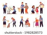 volunteer care. old people...   Shutterstock .eps vector #1982828573