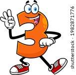 funny orange number three 3...   Shutterstock .eps vector #1982871776