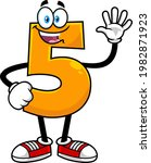 funny orange number five 5...   Shutterstock .eps vector #1982871923